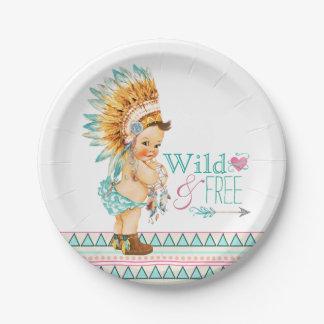 Fiesta de bienvenida al bebé tribal de los chicas plato de papel de 7 pulgadas