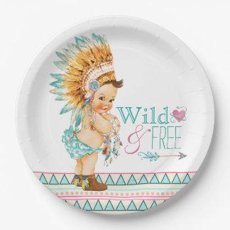 Fiesta de bienvenida al bebé tribal de los chicas plato de papel de 9 pulgadas