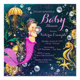 """Fiesta de bienvenida al bebé triguena de la sirena invitación 5.25"""" x 5.25"""""""