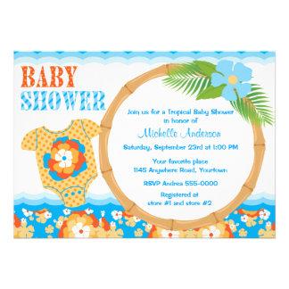 Fiesta de bienvenida al bebé tropical de los mucha invitacion personalizada