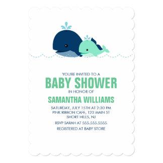"""Fiesta de bienvenida al bebé verde de la ballena invitación 5"""" x 7"""""""