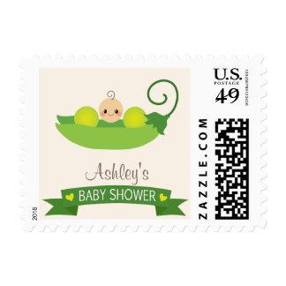 Fiesta de bienvenida al bebé verde del guisante de sello postal