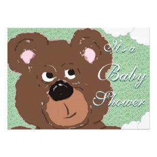 Fiesta de bienvenida al bebé verde del oso de pe invitaciones personales