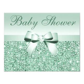 Fiesta de bienvenida al bebé verde impresa de las invitación 10,8 x 13,9 cm