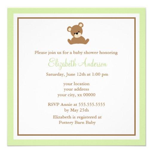Fiesta de bienvenida al bebé verde linda del oso invitación