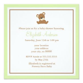 """Fiesta de bienvenida al bebé verde linda del oso invitación 5.25"""" x 5.25"""""""