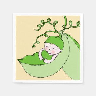 Fiesta de bienvenida al bebé verde y amarilla servilletas desechables