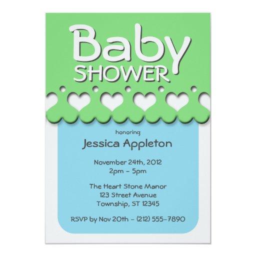 Fiesta de bienvenida al bebé verde y azul del invitación 12,7 x 17,8 cm