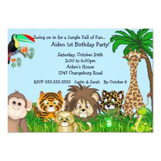 """Fiesta de Birthay de la diversión del safari de Invitación 5"""" X 7"""""""