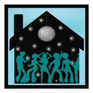 fiesta de casa del tema del disco 70s anuncio personalizado