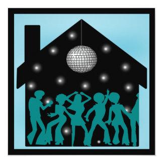"""fiesta de casa del tema del disco 70s invitación 5.25"""" x 5.25"""""""