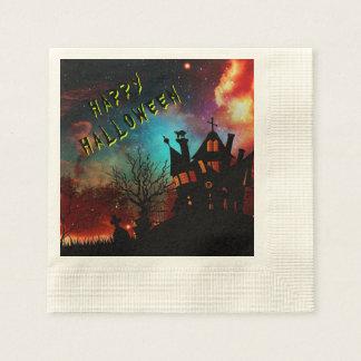 Fiesta de casa encantada del feliz Halloween Servilletas De Papel