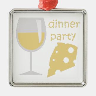 Fiesta de cena adorno navideño cuadrado de metal