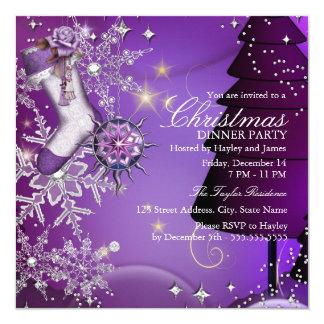 """Fiesta de cena cristalino púrpura de navidad del invitación 5.25"""" x 5.25"""""""