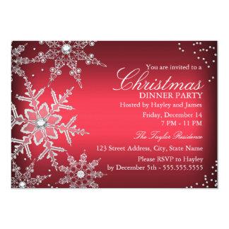 Fiesta de cena cristalino rojo de navidad del copo invitaciones personalizada