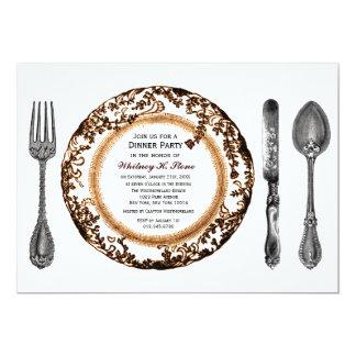 """Fiesta de cena de cena fino blanco de Brown Invitación 5"""" X 7"""""""