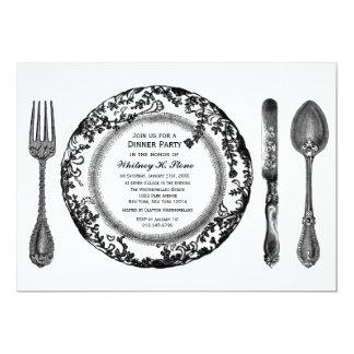 """Fiesta de cena de cena fino blanco negro invitación 5"""" x 7"""""""