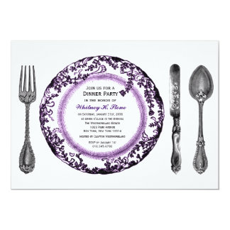 "Fiesta de cena de cena fino blanco púrpura invitación 5"" x 7"""