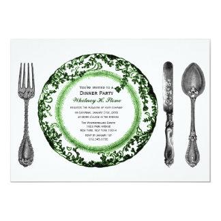 """Fiesta de cena de cena fino blanco verde invitación 5"""" x 7"""""""