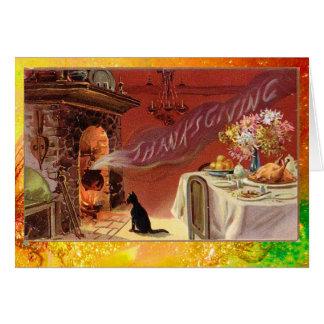 Fiesta de cena de la acción de gracias tarjeta de felicitación