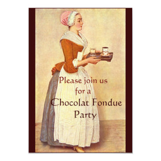 "FIESTA DE CENA DE LA ""FONDUE"" DE CHOCOLATE INVITACION PERSONAL"