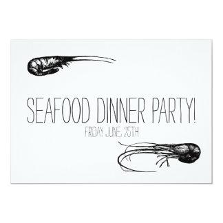 """Fiesta de cena de los mariscos, delicadeza de los invitación 5"""" x 7"""""""