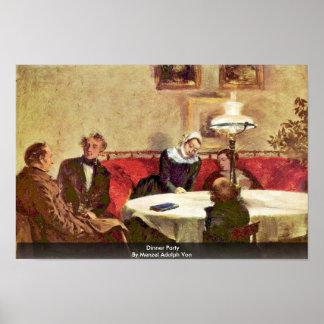 Fiesta de cena de Menzel Adolph Von Póster
