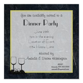 """Fiesta de cena de piedra veteado negro invitación 5.25"""" x 5.25"""""""