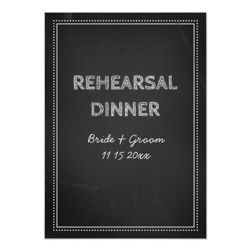 """Fiesta de cena del ensayo del boda de la pizarra invitación 5"""" x 7"""""""