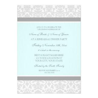 Fiesta de cena del ensayo del damasco del gris azu comunicados personalizados