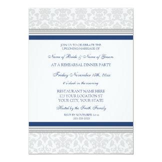 """Fiesta de cena del ensayo del damasco del gris invitación 5"""" x 7"""""""