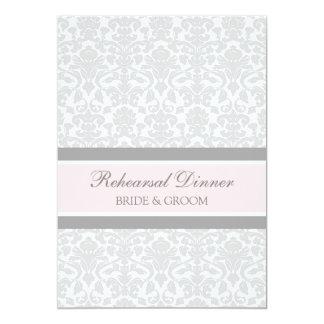 Fiesta de cena gris rosado del ensayo del damasco invitación 12,7 x 17,8 cm