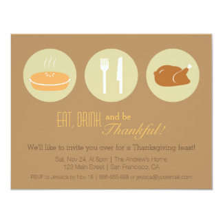 """Fiesta de cena minimalista moderno de la acción de invitación 4.25"""" x 5.5"""""""