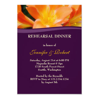 Fiesta de cena púrpura y anaranjado del ensayo invitación 11,4 x 15,8 cm