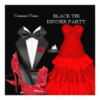 """Fiesta de cena rojo corporativo del lazo negro invitación 5.25"""" x 5.25"""""""