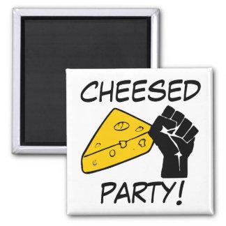 Fiesta de Cheesed Imán Cuadrado