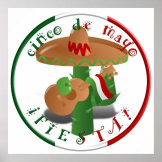 ¡Fiesta de Cinco De Mayo!  Cactus con el sombrero Póster