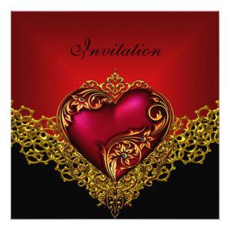 Fiesta de color rojo oscuro de la joya del corazón invitación