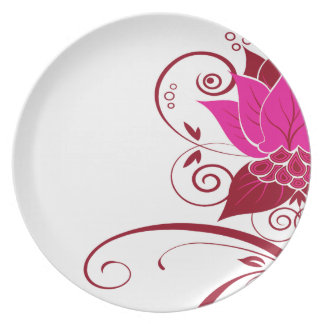 Fiesta de color rojo oscuro del fuschia floral plato de cena