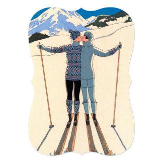 Fiesta de compromiso de los esquís del beso del comunicado personalizado
