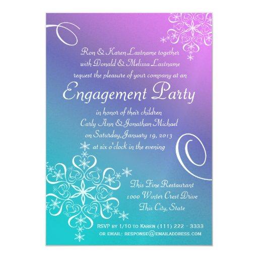 Fiesta de compromiso del copo de nieve invitación