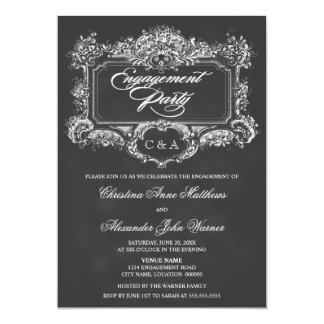 Fiesta de compromiso del ornamento del vintage de invitación 12,7 x 17,8 cm