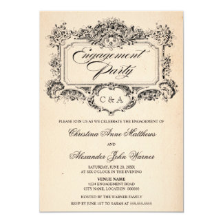 Fiesta de compromiso del ornamento del vintage invitación 12,7 x 17,8 cm