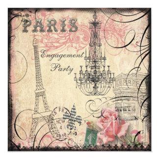 """Fiesta de compromiso elegante de la torre Eiffel y Invitación 5.25"""" X 5.25"""""""