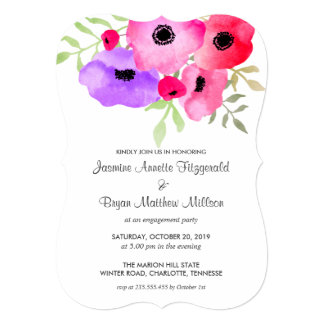 """Fiesta de compromiso floral caprichoso de la invitación 5"""" x 7"""""""