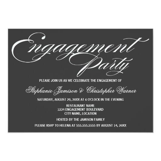 """Fiesta de compromiso gris de la elegancia de la invitación 5"""" x 7"""""""