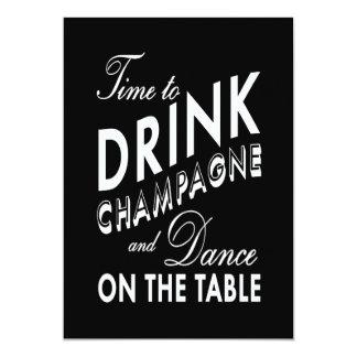 """Fiesta de compromiso - hora de beber Champán Invitación 5"""" X 7"""""""