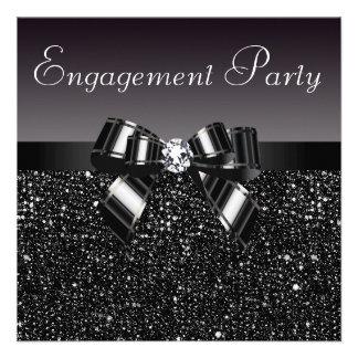 Fiesta de compromiso impreso de las lentejuelas d invitaciones personalizada