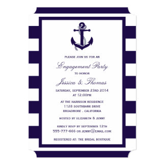 """Fiesta de compromiso náutico de la raya de azules invitación 5"""" x 7"""""""