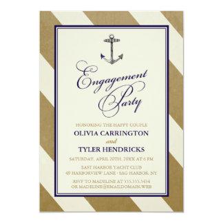 Fiesta de compromiso náutico elegante de la marina invitaciones personalizada
